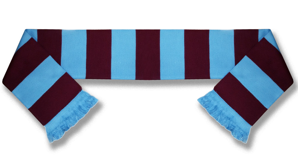 scarf claret and blue bar
