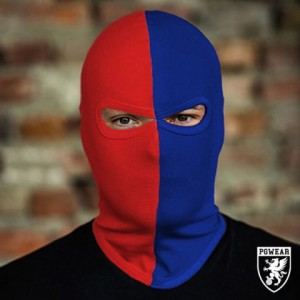 balaclava 50/50 red blue